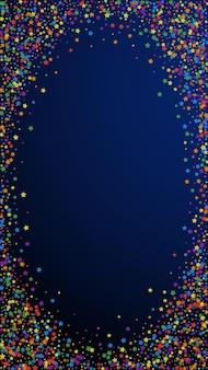お祝いの楽しい紙吹雪。お祝いの星。濃紺の背景に虹の明るい星。有利なお祝いオーバーレイテンプレート。垂直ベクトルの背景。