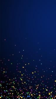 お祝いの楽しい紙吹雪。お祝いの星。濃紺の背景に明るい紙吹雪。素晴らしいお祭りオーバーレイテンプレート。垂直ベクトルの背景。