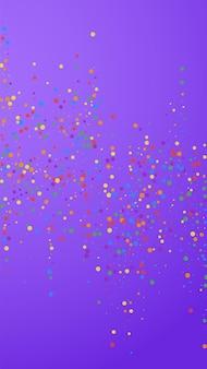 お祝いのポジティブな紙吹雪。お祝いの星。紫の背景にカラフルな紙吹雪。新鮮なお祝いオーバーレイテンプレート。垂直ベクトルの背景。