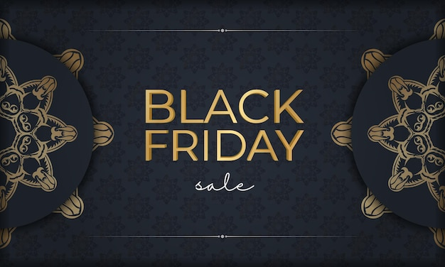 Festive poster for black friday sales dark blue with geometric gold ornament
