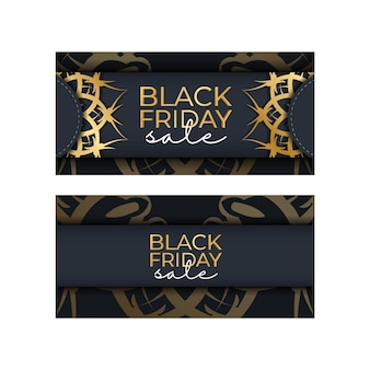 Festive poster for black friday sales dark blue with geometric gold pattern