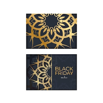 Festive poster for black friday sales dark blue with geometric golden ornament