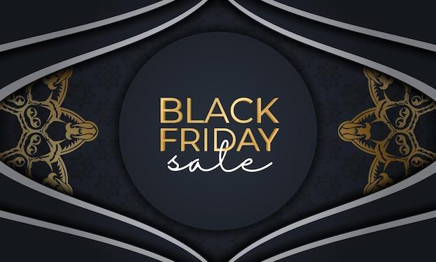 Festive poster for black friday sales dark blue with greek golden ornament