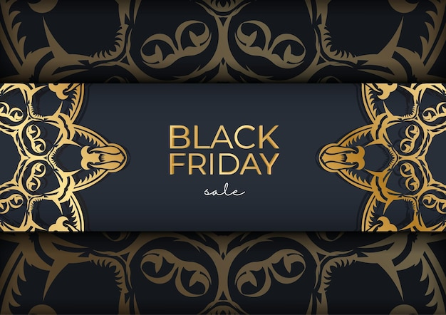 Festive poster for black friday sales dark blue with luxurious golden ornament