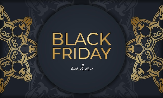 Festive poster for black friday sales dark blue with an old gold pattern