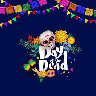 砂糖の頭蓋骨と死者の日のお祝いのポスター
