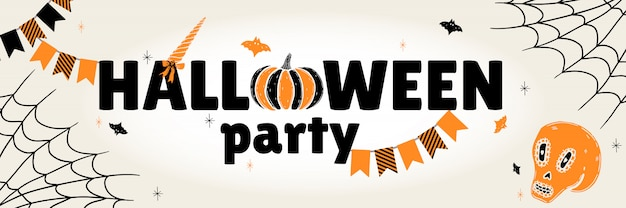 A festive poster white for the halloween party.  horizontal banner for a holiday.