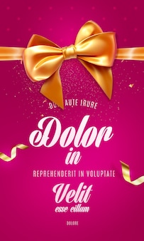 Festive poster with bow and ribbon.