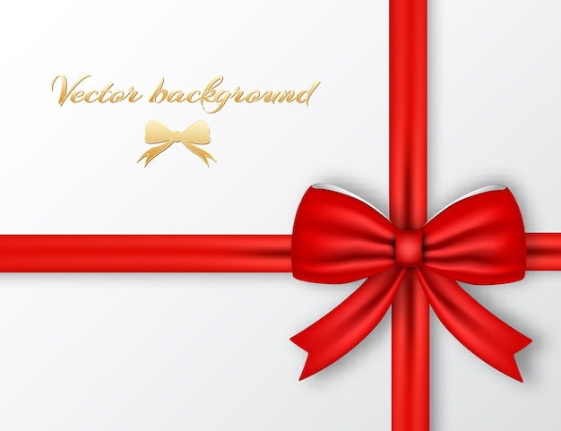 Festive present with red ribbon background