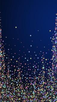 お祝いのかわいい紙吹雪。お祝いの星。紺色の背景にカラフルな星。華やかなお祝いオーバーレイテンプレート。垂直ベクトルの背景。