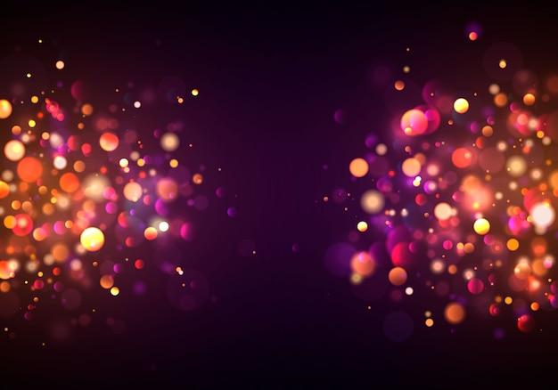 カラフルなライトのボケ味を持つお祝いの紫と金色の明るい背景。コンセプトグリーティングカード。魔法の休日ポスター、バナー。夜の明るい金色の輝き光の抽象。