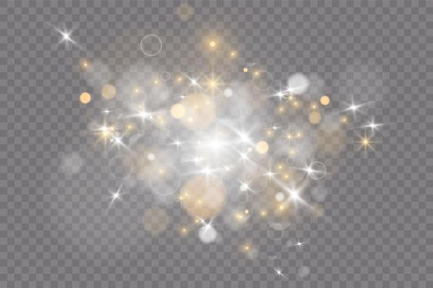 カラフルな光のボケ味とお祝いの紫と金色の明るい背景。魔法の休日のポスター、バナー。夜の明るいゴールドの輝きライトアブストラクト