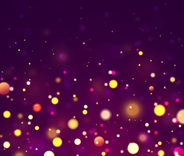 Праздничный фиолетовый, золотой фон красочные огни боке.