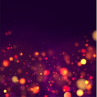 Festive purple and golden luminous background with colorful lights bokeh christmas concept xmas greeting card magic holiday poster banner night bright gold sparkles vector light abstract