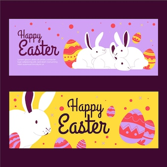Festive rabbits easter day banner collection