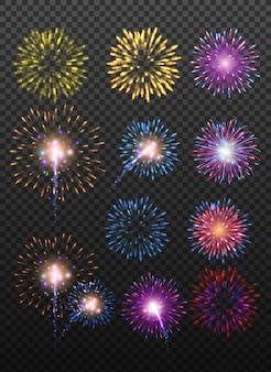 Festive realistic firework bursting in various shapes sparkling pictograms set