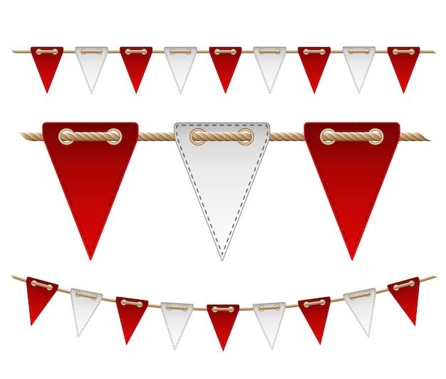 Праздничные красные и белые флаги на белом фоне. иллюстрация