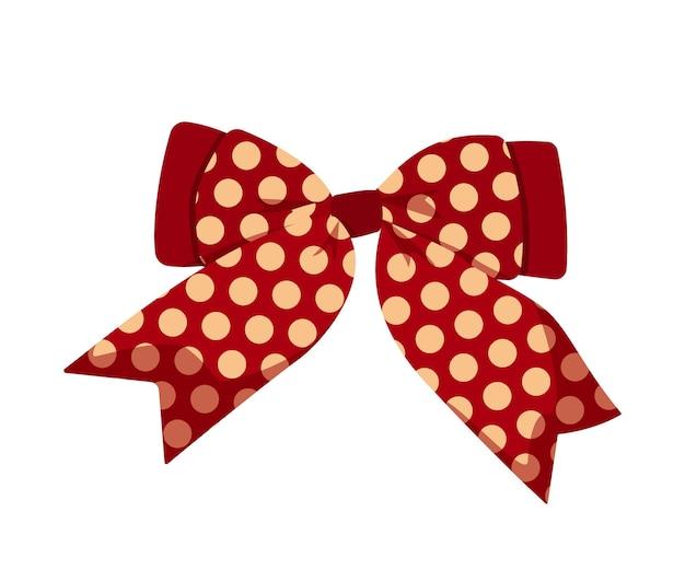 흰색 배경에 분리된 땡땡이 무늬가 있는 축제 붉은 활. 클립 아트 디자인 작곡 및 크리스마스 카드에 대 한 그림자와 함께 크리스마스 빨간 새틴 활.