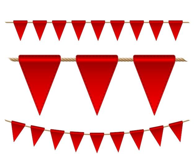 Праздничные красные флаги на белом фоне. иллюстрация
