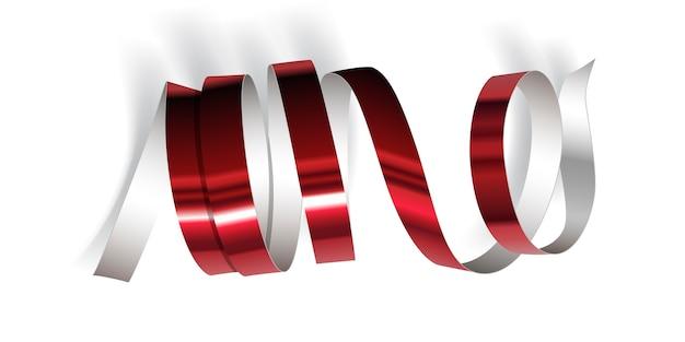 白い背景の上のお祝いの赤いリボン。リアルなストリーマー。