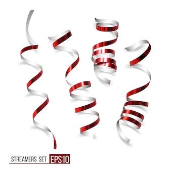 흰색 바탕에 축제 빨간 리본입니다. 현실적인 벡터 깃발입니다. 배너 및 그레이트 카드 디자인을 위한 카니발 파티 뱀 장식.