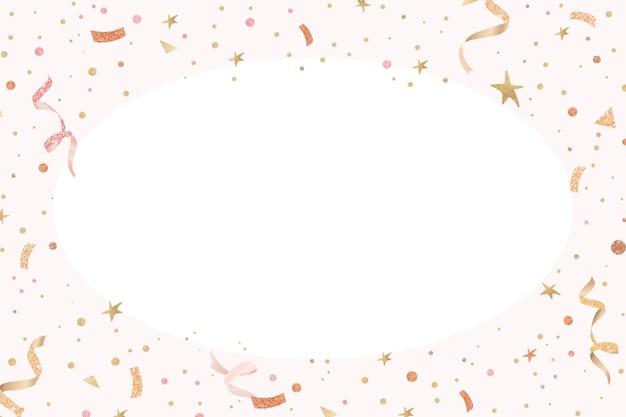 Festive ribbon frame on white background