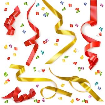 Festive ribbon, set of elements isolated