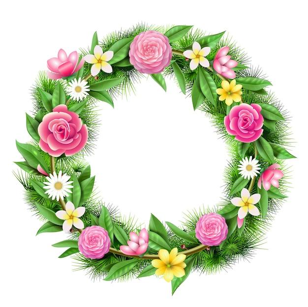 花、花輪のお祝いの丸いガーランド。アートの装飾とフローリストリー