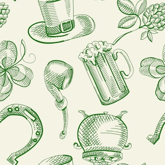 Festive saint patricks day seamless pattern with hand drawn green traditional symbols