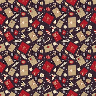 Festive seamless pattern with christmas gifts, candies and christmas decorations
