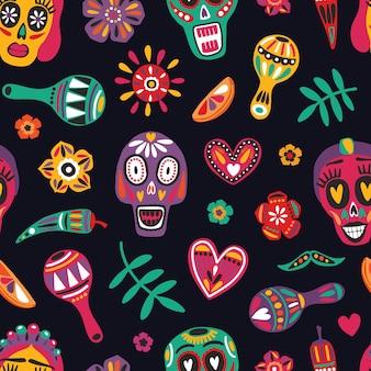 装飾的な頭蓋骨とのお祝いのシームレスなパターン