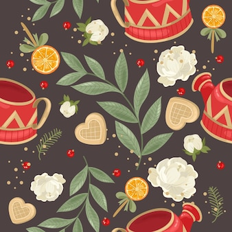 Festive seamless pattern with flowers illustration