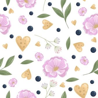 Festive seamless pattern with flowers