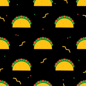 Festive seamless pattern with national taco food