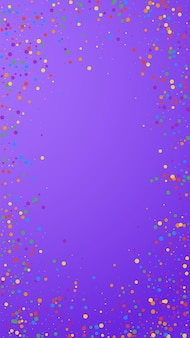 Festive shapely confetti. celebration stars. colorful confetti on violet background. fascinating festive overlay template. vertical vector background.