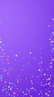 축제 매끈한 색종이. 축하 별. 보라색 배경에 무작위로 화려한 별입니다. 매력적인 축제 오버레이 템플릿입니다. 수직 벡터 배경입니다.