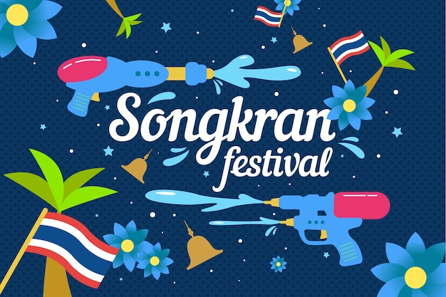 Festive songkran festival background