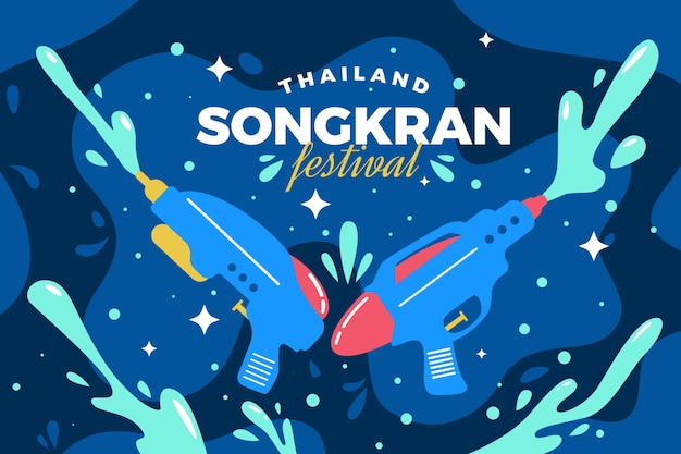 Праздничный сонгкран фестиваль плоского дизайна