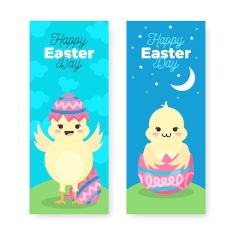 Festive spring easter day banner collection