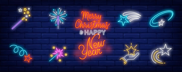 Simboli di stelle festive impostati in stile neon