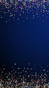 お祭りのスタイリッシュな紙吹雪。お祝いの星。紺色の背景にカラフルな星。お祝いのオーバーレイテンプレートを取得しています。垂直ベクトルの背景。