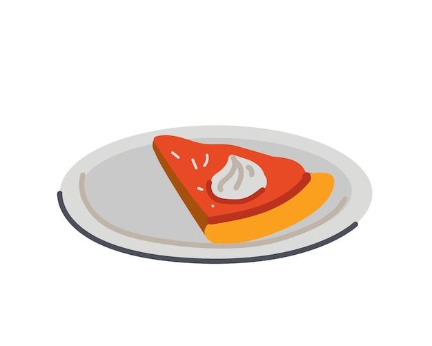 접시에 축제 달콤한 호박 파이 조각 손으로 그린 벡터 드로잉 격리 된 그림