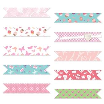 Festive textile ribbons set. Premium Vector