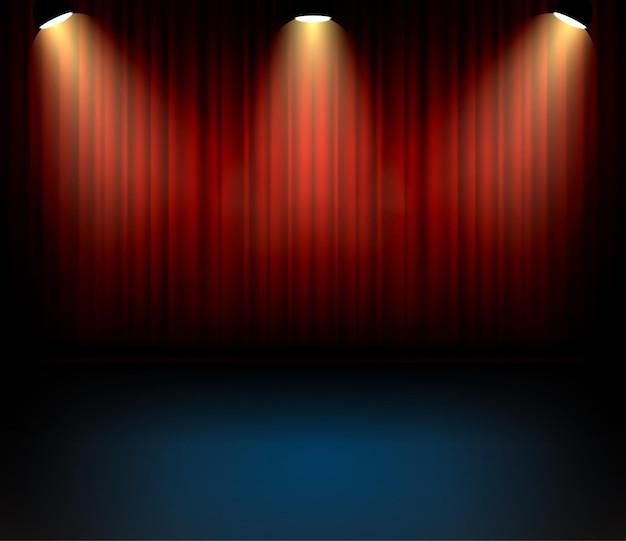 コンサートのためのお祝いの劇場カーテンバックゴーンド。ステージショーのエンターテインメントの背景。