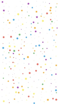 Festive unequaled confetti. celebration stars. joyous stars on white background. flawless festive overlay template. vertical vector background.
