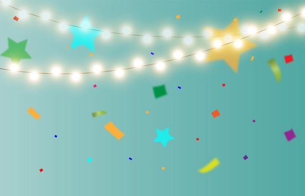 Festive vector illustration with candy and lights