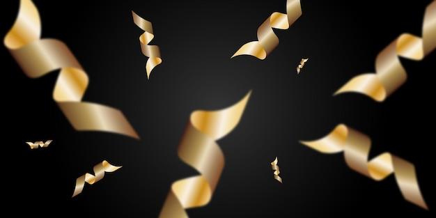 Праздничная векторная иллюстрация с золотым серпантином, изолированным на черном фоне.