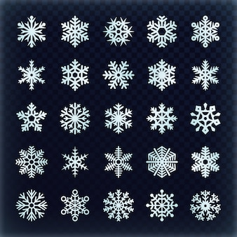 Festive vector snowflakes set. christmas holydays decoration elements. snowflake winter set, snow christmas illustration
