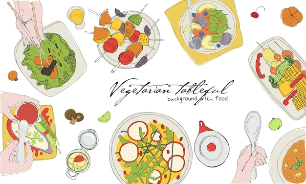 Festive vegetarian tableful, laid table, holidays hand drawn colorful illustration, top view. background with place for text.
