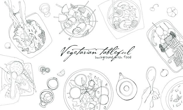 お祝いベジタリアンテーブルフル、レイアウトテーブル、休日手描き下ろし輪郭図、トップビュー。テキストのための場所の背景。